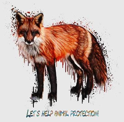 Red Fox In Tears Digital Painting Print by Georgeta Blanaru