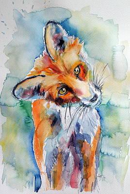 Fox Painting - Red Fox Watching by Kovacs Anna Brigitta