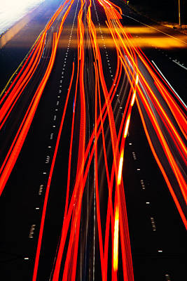 Red Freeway Tail Lights Print by Garry Gay