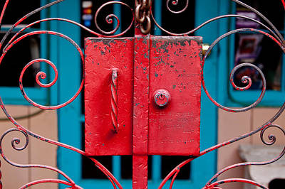 Southwest Gate Photograph - Red Gate In Santa Fe by Art Block Collections