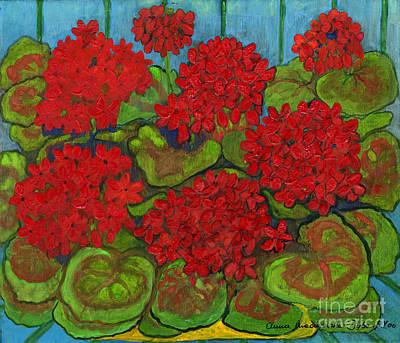 Polskie Obrazy Painting - Red Geranium by Anna Folkartanna Maciejewska-Dyba