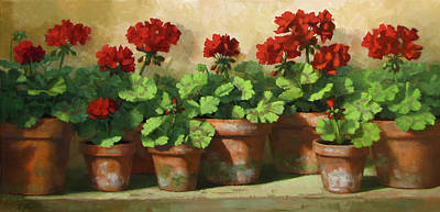 Red Geraniums Print by Linda Jacobus