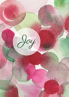 Merry Christmas Painting - Red Green Fuchsia Chic Holiday Card by Beverly Brown