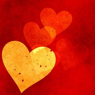Red Grunge Hearts Print by Georgiana Romanovna