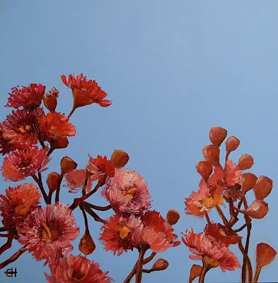Painting - Red Gum Blossoms Australian Flowers Oil Painting by Chris Hobel