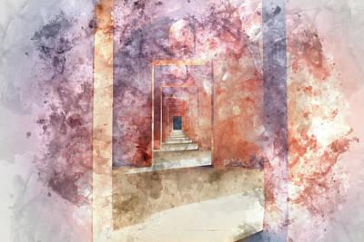 Muslims Of The World Digital Art - Red Hallway At The Taj Mahal by Brandon Bourdages
