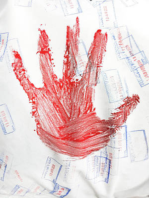 Red Hand Print Print by Tom Gowanlock