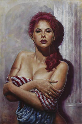 Flags Painting - Red Head by Harvie Brown