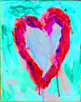 Heart Images Painting - Red Heart On Aqua by Lynn Rogers