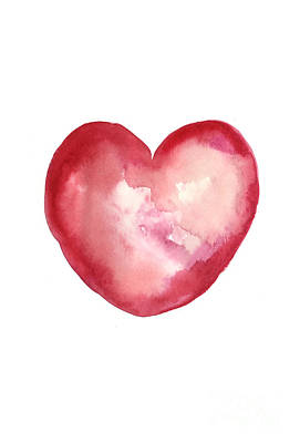 Red Heart Valentine's Day Gift Print by Joanna Szmerdt