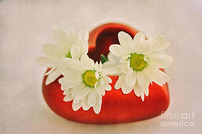 Red Heart With Flowers Print by SK Pfphotography