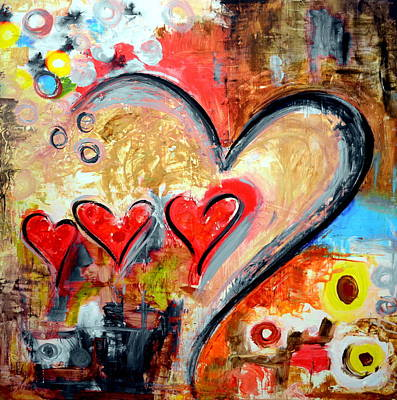 Christian Artwork Mixed Media - Red Hearts by Ivan Guaderrama