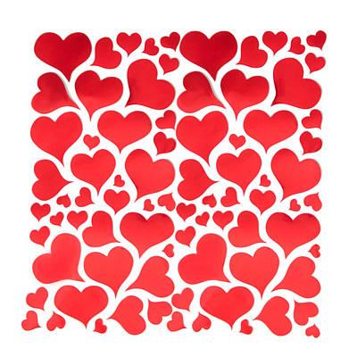 White Digital Art - Red Hearts by Art Spectrum