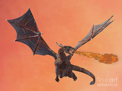 Red Hell Dragon Print by Corey Ford