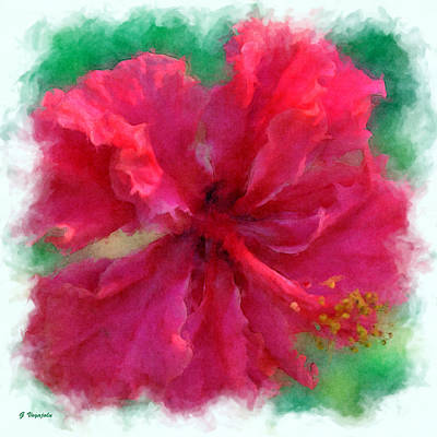 Digital Painting - Red Hibiscus 2 by Diana Voyajolu