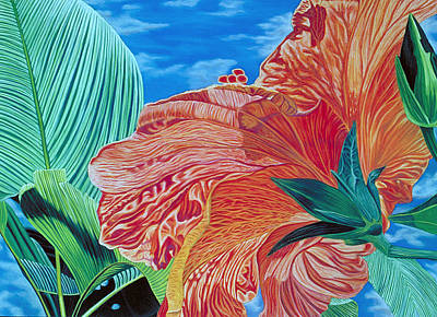 Pastel - Red Hibiscus And Palms by Stephen Mack