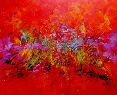 Multi Colored Painting - Red Hot Go Running Again by Carol Suzanne Niebuhr