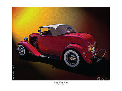 Red Hot Rod Print by Kenneth De Tore