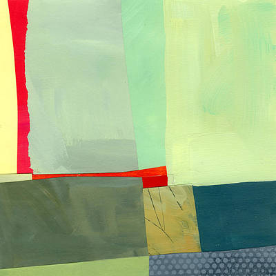 Abstract Collage Painting - Red by Jane Davies
