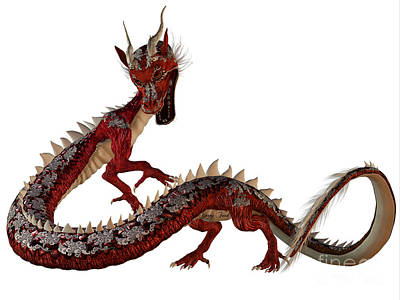 Red Jewel Dragon Print by Corey Ford