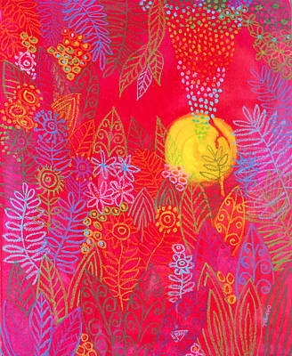 Red Jungle Passionate Sun Print by Jennifer Baird