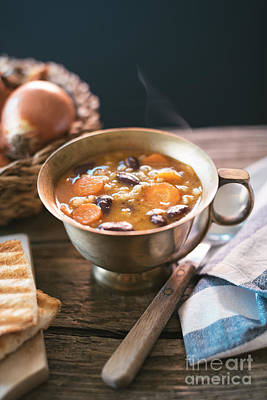 Stew Photograph - Red Kidney Bean Soup With Carrots And Barley by Viktor Pravdica