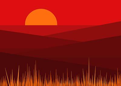 Minimalist Landscape Digital Art - Red Landscape by Val Arie