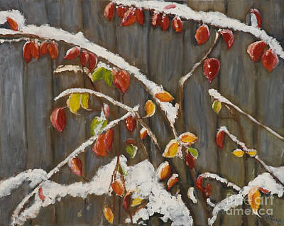 Snowscape Painting - Red Leaves In Snow by Julie Kreutzer