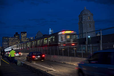 Red Line Train Rumbling Over The Longfellow Bridge In Boston Ma Print by Toby McGuire