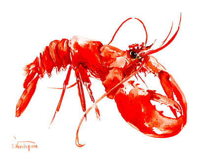 Restaurant Art Drawing - Red Lobster by Suren Nersisyan
