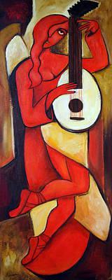 Red Lute Original by Valerie Vescovi