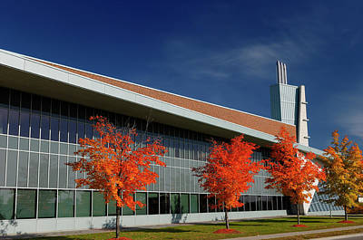 Quinlan Photograph - Red Maple Trees And Modern Architecture Of Seneca College York U by Reimar Gaertner