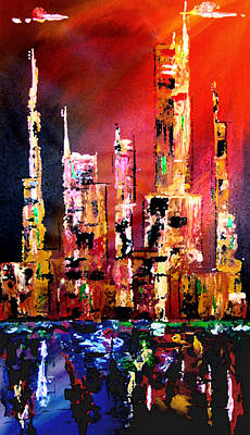 Abstract Painting - Red Nights by Tom Fedro - Fidostudio