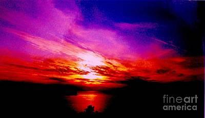 Wrap Digital Art - Red Nite Sky by Marsha Heiken