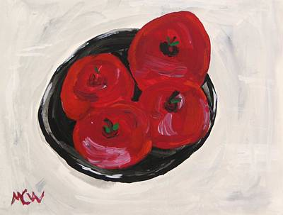 Simplicity Drawing - Red On Black  Apples by Mary Carol Williams
