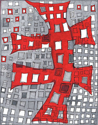Abstract Movement Drawing - Red On Cool Gray by Sandra Church