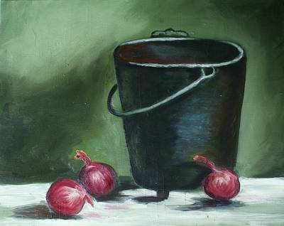 Table Cloth Painting - Red Onions For The Stew Pot. by Theresa Cangelosi