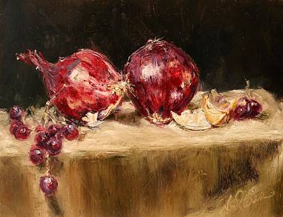 Onion Painting - Red Onions by Nicole Slater