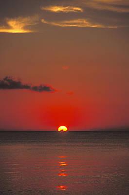 Red Orange Sunset On Horizon Print by James Forte