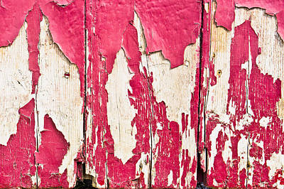 Scruffy Photograph - Red Painted Wood  by Tom Gowanlock
