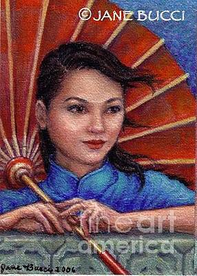Bucci Painting - Red Parasol Girl by Jane Bucci