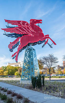 Landmarks Photograph - Red Pegasus Of Dallas by Tod and Cynthia Grubbs