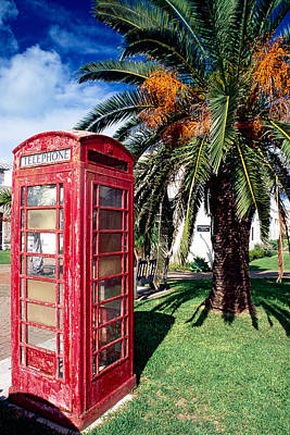 Red Phone Booth Bermuda Print by George Oze