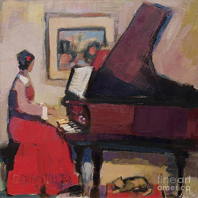 Woman Playing Piano Painting - Red Pianist IIi by Adolf Pen