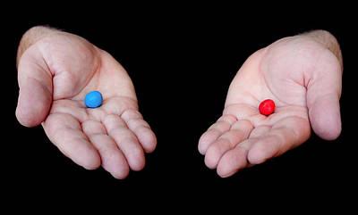 Red Pill Blue Pill Print by Semmick Photo
