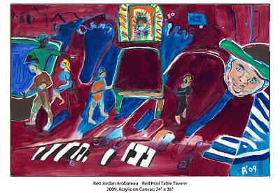 Jukebox Painting - Red Pool Table Tavern by Red Jordan Arobateau