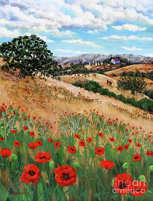 Red Poppies And Wild Rye Print by Laura Iverson