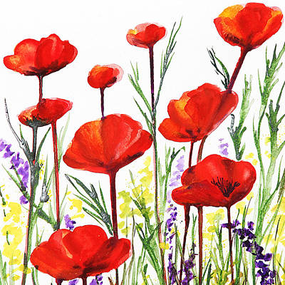 Country Style Painting - Red Poppies Art By Irina Sztukowski by Irina Sztukowski