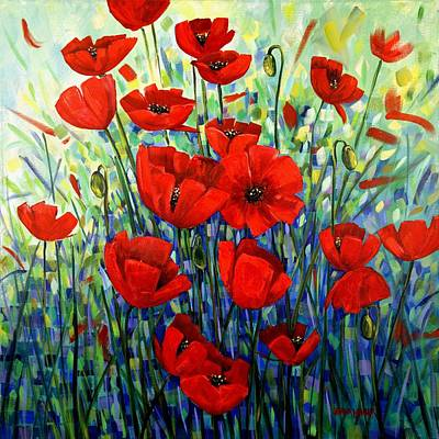 Red Poppies Print by Georgia  Mansur