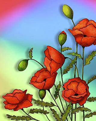 Mixed Media - Red Poppies On Multi-colored Background by Joyce Geleynse